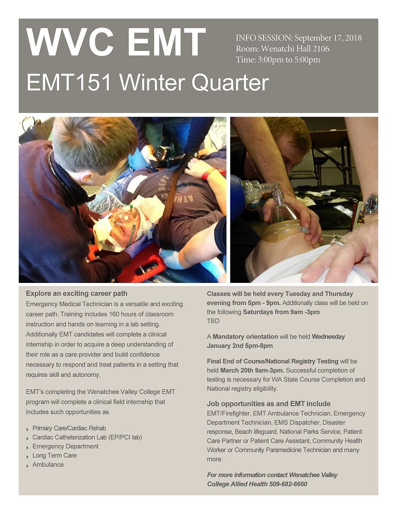 Emergency Medical Technician Course | Wenatchee Valley College