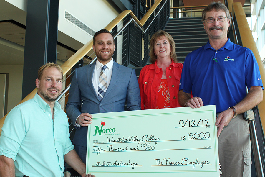 WVC Foundation receives a check for the The Kissler Family Foundation Norco scholarship